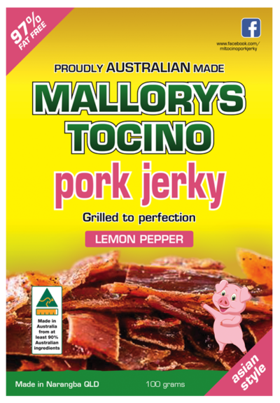Lemon pepper pork jerky by www.mallorytocino.com.au