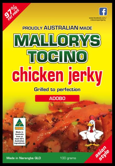 Australian adobo chicken jerky by Mallorys Tocino