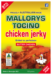 Australian butter chicken jerky grilled to perfection by Mallorys Tocino