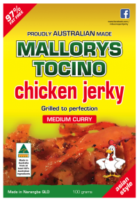 Australian made Malorys Tocino chicken jerky. Medium curry.