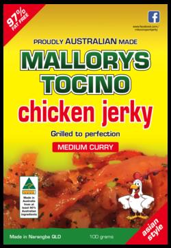 Australian made Malorys Tocino chicken jerky. Medium curry.